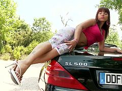 Angel Rivas is ready to make you bust a nut with this hot solo scene where you'll be able to see thia hot babe masturbating on top of a Mercedez Benz.