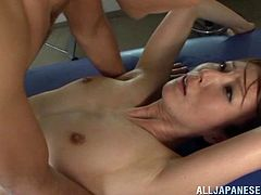 Reiko Sawamura is a sex addicted Asian nurse. She gets fingered by one of the patients. Then she lies down on a couch and gets fucked doggystyle.
