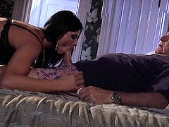 A beautiful brunette girl gives pleasure to some old man at bedtime. India comes up to the man and starts to stroke his dick to make it hard. Of course she also sucks that old dick.