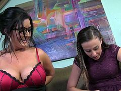 Lesbian Babes Showing Big Tits While Talking