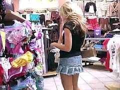 Sexy blonde porn star Alison Angel is having a day off today. She and her cute GF go to a supermarket and buy some clothes there.