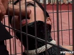 A brunette girl in latex sucks a dick sitting in a cage. Then Tiffany gets humiliated by three dudes and fucked. The girl also drinks sperm like milk.