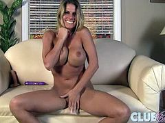 Charisma cappelli jerks off and swallows dildo