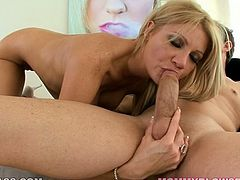 If you are into hot blondes with well-matured tits then you can count on Christina Skye. This chick loves her man's dick just as much as she loves herself. She sucks his shaft passionately paying special attention to his balls.