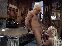 Ava was relaxing in a bath when her man came home, helped her out then fucked her while she laid on top of the new pool table.