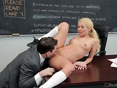 If you have fantasies with schoolgirls, don´t hesitate to click! A blonde babe wearing pigtails meets in private with her teacher. She is very persuasive and direct. Wait to see the teacher's reaction! He cannot remain indifferent at the view of her small boobs and pussy. Hit enter to play this A+ video!