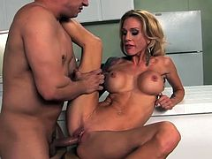 Stunning college slut Sarah Jessie is ready to get her tight pussy drilled in the kitchen. She screams loud when this dude stuffed her like a Thanksgiving turkey.