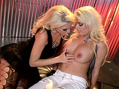 Have fun with this great lesbian scene where these horny blonde make you pop a boner as they have fun with one another.