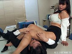 Curvy Japanese milf is playing dirty games with some dude in an office. The man tears the slut's pantyhose, plays with her terrific natural tits and then fucks her in missionary and other positions.
