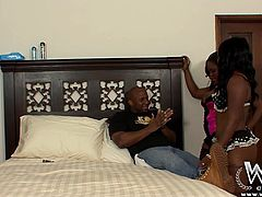 Well, this guy is fucking lucky! He gets not one but two big booty black whores! The sluts are eager to get down and dirty so soon the dude ends up with both of them sucking his dick. The brunettes share his penis and then one of them bends over and he drills her fat ass. It's all on tape so don't miss it!