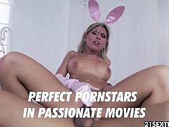 Aubrey Addams is a cute little blonde bunny. Her wet hole gets slammed hard and her mouth filled with cock juice.