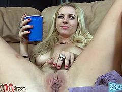 Filthy whore Lexi Belle plays with her loose pussy