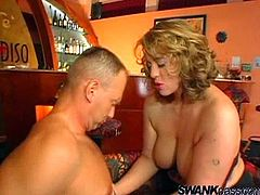 Witness this video where a chubby blonde, with big jugs wearing nylon stockings, while she goes hardcore and moans like a perverted MILF.
