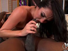Big black dude fucks beautiful blonde chick Bianca right on the floor. She rubs her clit and you can be pleased with her gorgeous body. At the end she gives deepthroat blowjob in 69 pose.