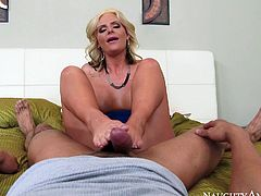 Horny blonde babe licks balls and sucks big cock like greedy. She has big impressive boobs and she gives best ever titjob. Go for the top rated naughty America sex video for free.
