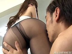Gorgeous Yui Hatano gives head to one of her colleagues. A guy makes a hole in Yui's pantyhose. Then she gets cowgirl fucked on a floor right in the office.