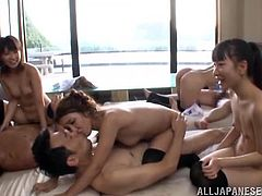 These Japanese girls in uniform give pleasure to a lucky man. These babes suck a dick and also get cowgirl fucked.