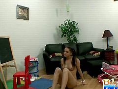 Hot brunette 18 yo Tori Black put the baby down for a nap and decided to get in a workout which made her hot so she got naked only to have daddy walk in on her. Naughty babysitter.