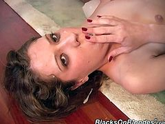Horny bitch Shannon is having fun with two black studs indoors. The men face-fuck the slut and then drill her coochie doggy style and in other positions.