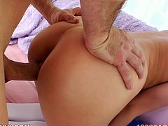 This chick needs a good pussy workout and her lover is here to pound her tight pussy hard. Horny dude bends her over and fucks her tight pink pussy in doggy position. She spices things up with a blowjob. Then he fucks her tight snatch in missionary position.