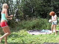 Two whores with good shape one of them with red head and the other one with light hair gets poked on the grass by the guy. Watch in HD Sex xxx clip.