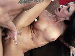 Raven haired sexy babe with big button posed doggy style on sofa. Her horny guy hammered her swollen thirsting pussy right away. Just watch that slutty cougar in Fame Digital porn clip!