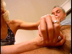 Horny blonde babe enjoys as she tortures daddy's old cock for extreme fun. watch her stretch and ball bust  his testicles and pull his dick so far back that it makes him cum so hard!