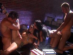 Smoking hot brunettes are fucked by two guys in a threesome