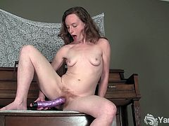 Ana opens for naughty pussy toying solo. She is your kind of whore that wants to do it anywhere even on top of the piano as long as she gets satisfied with her every moves.