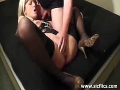 This amateur blonde has a brutal boyfriend. He fists her cunt and she fists herself too. Then, he furiously fucks her ass hole and fingers that hole as well.