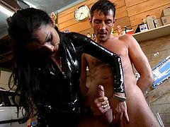 these two sluts love to give pain to this male slut, and give pain in latex! He gets tied up and bound with wax and all over his body and gets to fist the mistress !