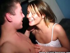 When you look at this teen you think what a dirty slut which is right. This girl is a total slut. Cock crazed nympho sucks her lover's dick greedily like mad. Then she rides his stiff dick like a true cowgirl.