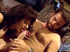 Take a look at this hardcore scene where the sexy brunette Asia Carrera is eaten out and fucked by a guy after she sucks on his hard cock.