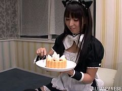 She is a Japanese maid and today she is pleasing her master with her mouth! Honey is going to be giving him a nice blowjob!