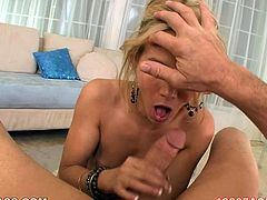 Judging by the way she is sucking on her lover's dick you can tell that she has a strong desire to be fed with delicious sperm. Damn, this chick knows how to give a good blowjob!