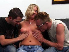 Have a look at this hardcore scene where the slutty blonde Christina Skye is fucked by two guys that leave her out of breath in a threesome.