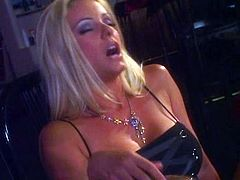 What are you waiting for? Watch this blonde pornstar, with huge fake tits wearing high heels, while she gets fucked hard in a threesome.