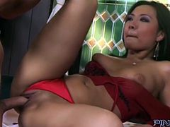 Black haired rapacious chick with big sexy ass goes crazy about passionate fuck with that brutal dawg. He bangs her asshole from behind and in sideways pose hard. Take a look at that hot Asian wench in Pinko HD sex clip!