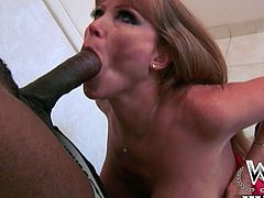 Sexy and zealous cougar Darla Crane sucks cocks like a pro. She gives a young balck guy with huge dick amazing blowjob and handjob.