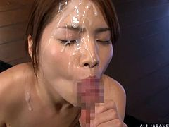 Captivating Japanese girl Rino Yoshihara wearing a bikini is playing dirty games with some dude. She shows her natural tits to the man and then milks his dick dry on her face.