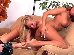 Attractive blonde milf Silvia Saint with perfect tits and delicious ass and long haired dill Ashley Bulgari with tattoo on upper back in white thong only make out on couch.
