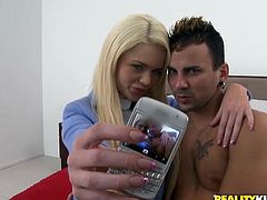 Lewd blonde Alexis Ford is getting naughty with some guy indoors. She favours the man with a hot blowjob and they fuck in standing and missionary positions.