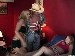 A couple of slutty ass bitches suckin' on each other's dripping wet cunts and gettin' fucked by this dude, check it out right here!