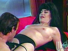 Have fun with this hardcore vintage video where the sexy brunette Ona Zee is fucked by this guy as she wears stockings and you hear her moan.