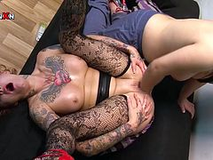 Lusty and chubby woman with tattooed body invited her rapacious manlike kooky to get her thirsting kitty fisted tough by her hard arm. Take a look at that dirty lesbo fuck in Porn XN sex video!