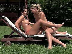 Welcome to the nice garden where amazing lesbian babes Anita and Melissa Ria kissing each other