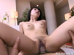 Check this brunette, with natural boobs and a cute butt, while she goes hardcore with two dudes and moans like a naughty Japanese bitch.