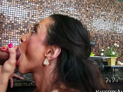 Filthy bitch with huge boobs gives a excellent blowjob after getting her cunt polished. Have a look at this slut in steamy Naughty America sex clip.