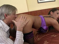 Hot with staggering forms Alison Star feels like in heaven with senior cock drilling her hard and fast