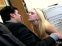 Voracious office babe with big boobs takes off her clothes and gives a head. Have a look at this bitch in Thagson sex clip.